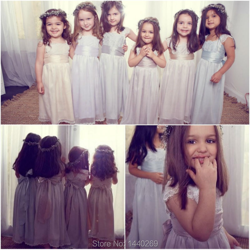 Beauty A Line   Flower     Girls     Dress   Scoop Neck Appliques Lace Chiffon Long Little Princess Gown for Weddings Custom Made
