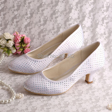 Dropship White Bridal Shoes Crystal Low Heel Satin for Women