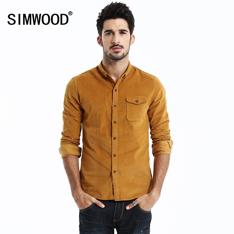 2017 new brand men corduroy shirt long sleeve knitted mens for Latest shirts for mens 2017