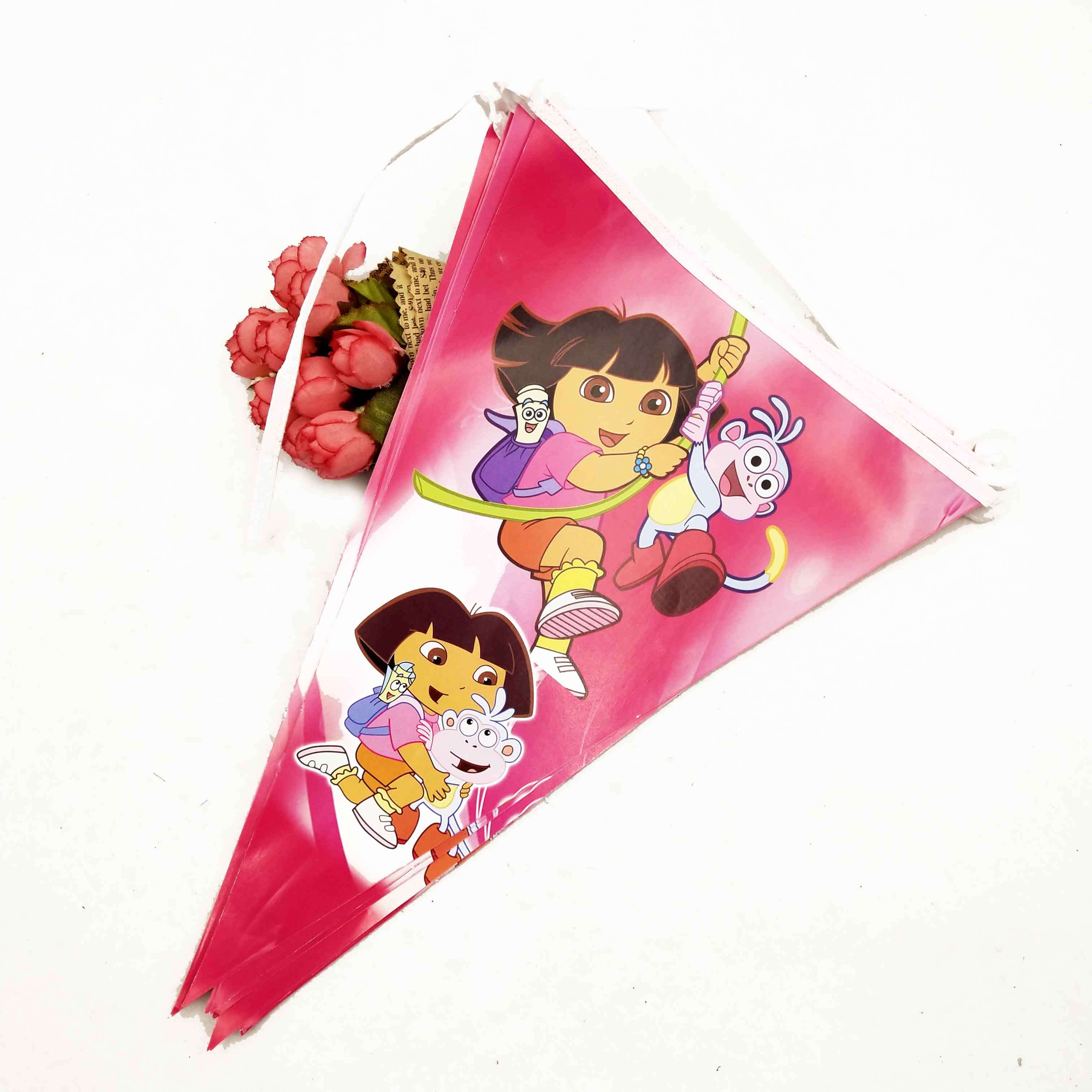 2.5m/set Dora party supplies paper banner Kid Birthday party favor event baby shower decoration pennant bunting Flag set