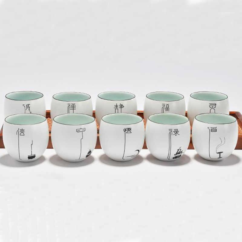 2 шт./лот в китайском стиле керамический мл 130 чай Кружка с ручной росписью узор фарфор Малый ча чаши посуда для напитков Tieguanyin чашки