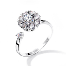 TOMYE Hot New Zircon Spinning Ring Wedding ring Simple Top quality Silver