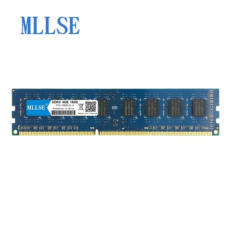 Mllse PC DIMM Ram DDR3 1G 2G 4G 8 GB 1066 mhz 1333 mhz 1600 mhz 1.5 V mémoire pour PC3-12800S de bureau 240pin non-ecc mémoire d'ordinateur