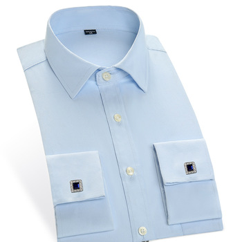Newest Style Men French Cufflinks Shirt 2016 New Men's Shirt Long Sleeve Male Brand Shirts Elegant French Cuff Men Dress Shirts