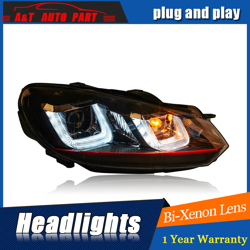 Car Styling For VW golf 6 headlight assembly 09-12 For golf 6 LED head lamp Angel eye led DRL front light H7 with hid kit 2pcs. car styling headlight assembly 2005 2007 for ford focus doubleu angel eye led drl lens double beam h7 hid kit with 2pcs