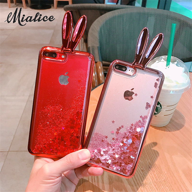 Plating Rabbit Ear Stand Holder Case For SamsungS8 S8plus Soft Silicon Glitter Liquid Quicksand For S6 S6edge S7 edge Girl Cover