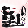 Adult Game Leather 8 Bondage kit Fetish Bdsm For Couples nipple clamps/hand cuffs/whip/rope/mask/open mouth gag/sex collar leash