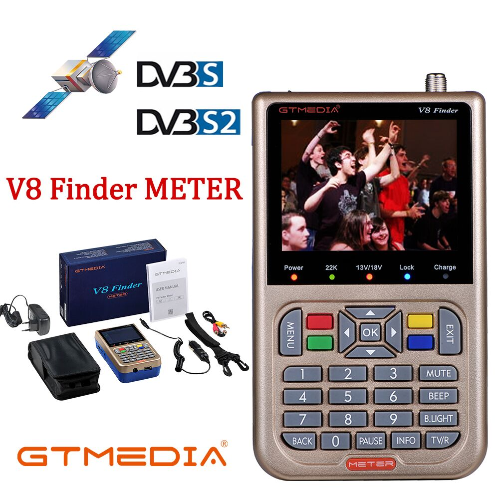 Newest Satellite Finder GTmedia V8 Finder Meter Satfinder Measurements of DVB S/S2/S2X signals HD 1080P Sat Finder with Battery-in Satellite TV Receiver from Consumer Electronics