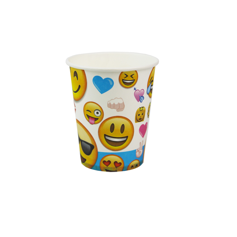 12pcs happy birthday party decoration disposable tableware paper cups Smiley Face Expression cartoon pattern Kids Party supplies
