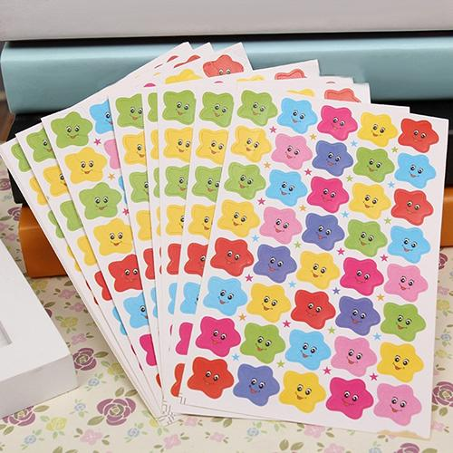 10 Sheets Smile Stars Decal School Children Kids Teacher Label Reward DIY Sticker Albums Scrapbook Decorative Classic Toys