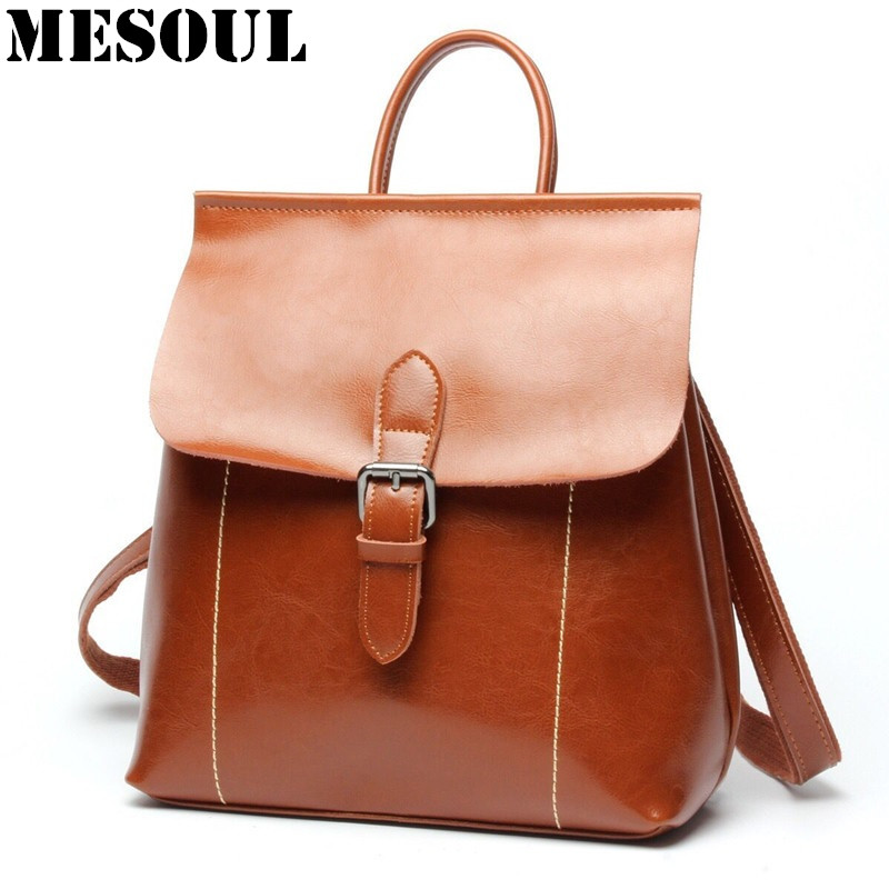 Backpack Women korean Style School Bags Oil Wax Cowhide Fashion Backpacks For Teenage Girls Mochila Designer Backpack Travel Bag 2016 spring new school bags for girls designer brand women backpack korean style bookbag shoulder bag wholesale kids backpacks