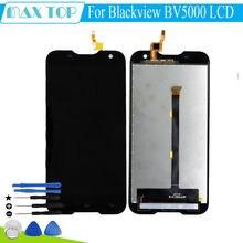 Para blackview bv5000 pantalla lcd con panel de la pantalla táctil de piezas de repuesto para bv5000 5 pulgadas a prueba de agua al aire libre smartphone + herramientas