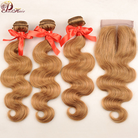 Pinshair Body Wave Bundles With Closure Brazilian Hair Weave Human Hair Weave Colored Blonde Bundles With Closure Non Remy Hair