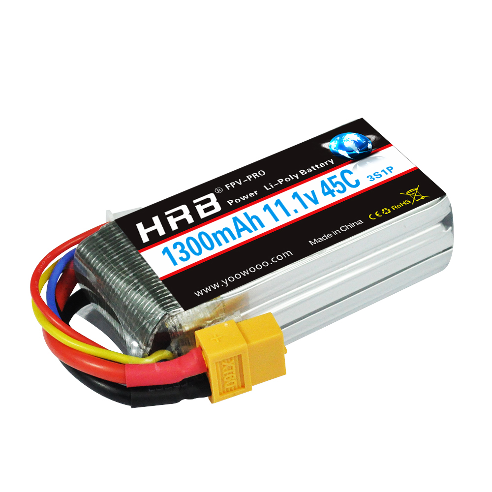 HRB 3S 11.1V 45C 90C 1300mAh RC Lipo Battery For Truck Fixed-wing Helicopter Plane QAV 250 300 Racing Drone image