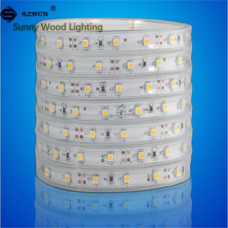 Led strips 5m/roll Free shipping LED Sleeve strip SMD 3528 60pcs/m LED softstrip 12V DC White color IP67 Epistar LED