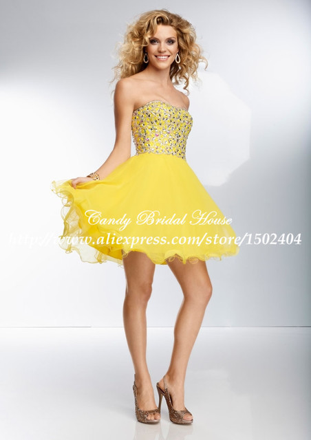 Hot Selling Chiffon Puffy Yellow Prom Dresses