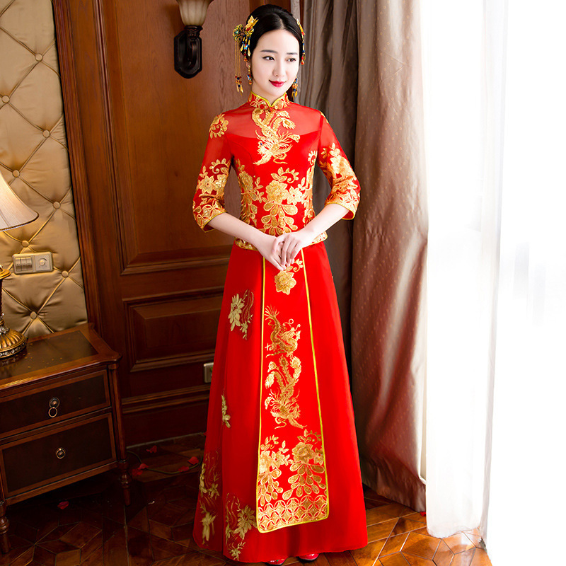 Red Chinese Dress Traditional Women Qipao Dresses Robe Oriental Wedding Gowns Embroidery Cheongsam Modern Long Qi Pao