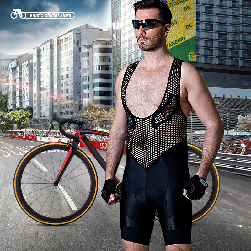 где купить Santic Men Cycling Padded Bib Shorts Pro Fit Summer Italian Imported Fabric Cushion Pad Breathable Cycling Clothings M7C05094 по лучшей цене