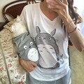 Alta Qualidade Nova Marca 2016 Moda Casual de Algodão Branco Camiseta de Manga Curta Mulheres Impressão Totoro Tee Camiseta Encabeça Femme