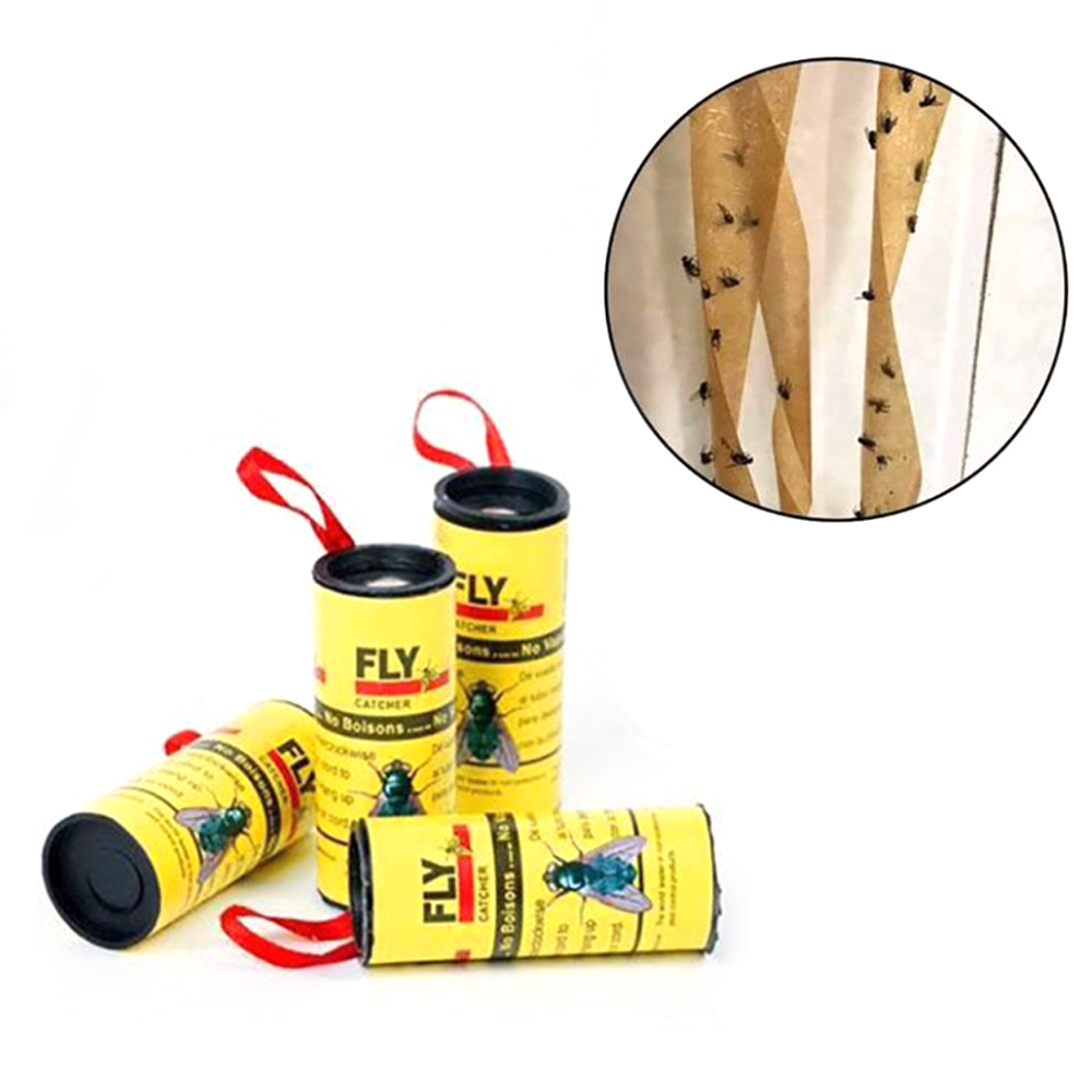 Eliminate Flies 4 Rolls Sticky Fly Paper Insect Bug Glue Paper Catcher Catching And Killing Fly Insect Mosquito Killer Fly Trap