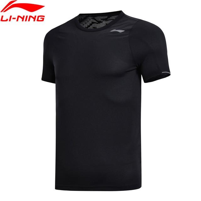 Li-Ning для мужчин футболки для тренировок дышащий Slim Fit 100% топы из полиэстера подкладка Комфорт Спорт Фитнес Футболка ATSN057 MTS2785