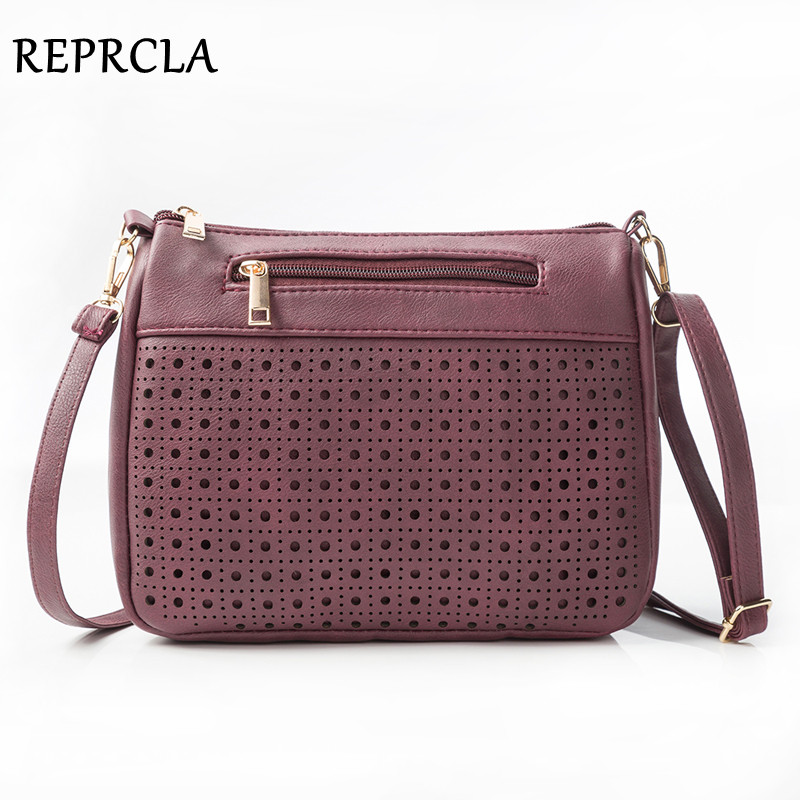 REPRCLA Brand Hollow Out Women Bags High Quality PU Leather Shoulder Bag Fashion Ladies Crossbody Messenger Bags Handbags