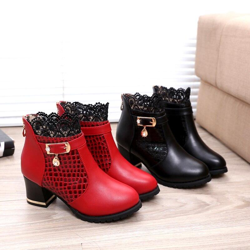 Boot Botas Otoño Rojo Casual Mujer Invierno Moda rojo Mujeres Rhinestone Altos Cuculus Negro Zapatos Tobillo Tacones Ladies Cordón Nuevo Metal 1037 Aqgnw6wv