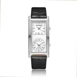 السيدات عارضة ووتش 2 الهاتفي المنطقة الزمنية إمرأة أزياء أنيقة ساعة اليد الكوارتز ساعة 2019 حزام من الجلد Relogio Feminino