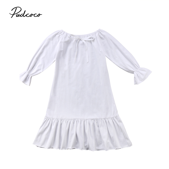 3beb799b20d 2018 UK Cute Toddler Kids Baby Girl Princess Party Cotton Full Sleeve Dress  Ruffle Nightgown