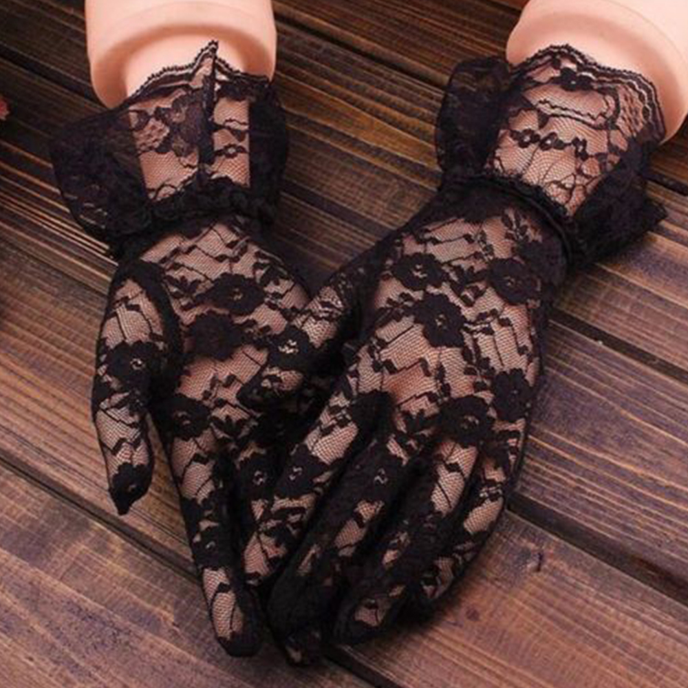 KLV Solid Color Lace Gloves Women Vintage Elastic Sun Protection Solid Sunscreen Summer Gorgeous Black Finger Gloves Accessorie
