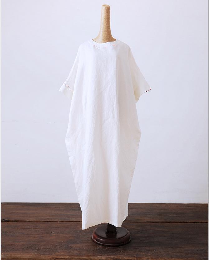 Литературный большой ультра-Свободные длинное платье плюс Размеры Ретро Для женщин Платья для женщин Халаты Демисезонный Летний стиль женское платье - Цвет: Белый