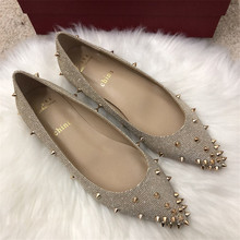 Free shipping fashion women Casual Designer gold Glitter point toe studded spikes flats bride wedding shoes настенные фотокартины gold point tf630t