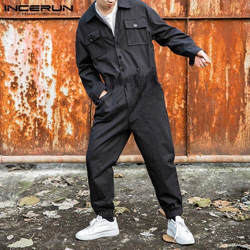 Moda Masculina Macacão Sólida Calças Bolsos Hip-hop Manga Longa Estilo Punk Streetwear Masculino Carga Incerun 2020 Cor