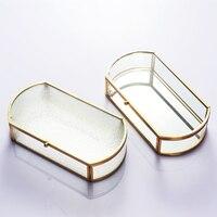 24*12cm Retro Geometry Glass Garden Jewelry Box Jewelry Accessories Multifunction Storage Box Display Box Storage Boxes & Bins