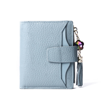Short Rushed Genuine Leather Unisex Lady Solid Hasp Mini Wallets Interior Pocket Leather Wallet, Mini 2018 New Card Bag