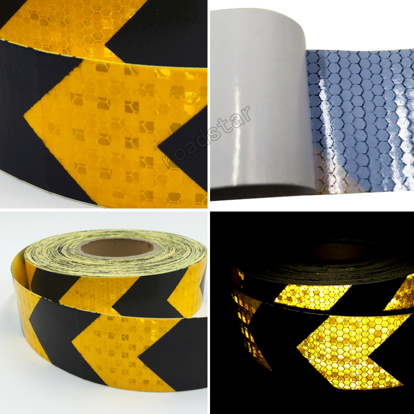 Купить с кэшбэком 5cmx50m  Reflective Warning Tape Self Adhesive Sticker with Red/White Yellow/Red Yellow/Black Blue/White Arrow Printing for Car