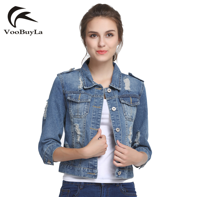 Voobuyla Марка Плюс Размеры 5XL 6XL Лето Джинсовая куртка 2017, женская обувь три четверти тонкий хлопок свет мыть Короткие джинсы куртка пальто