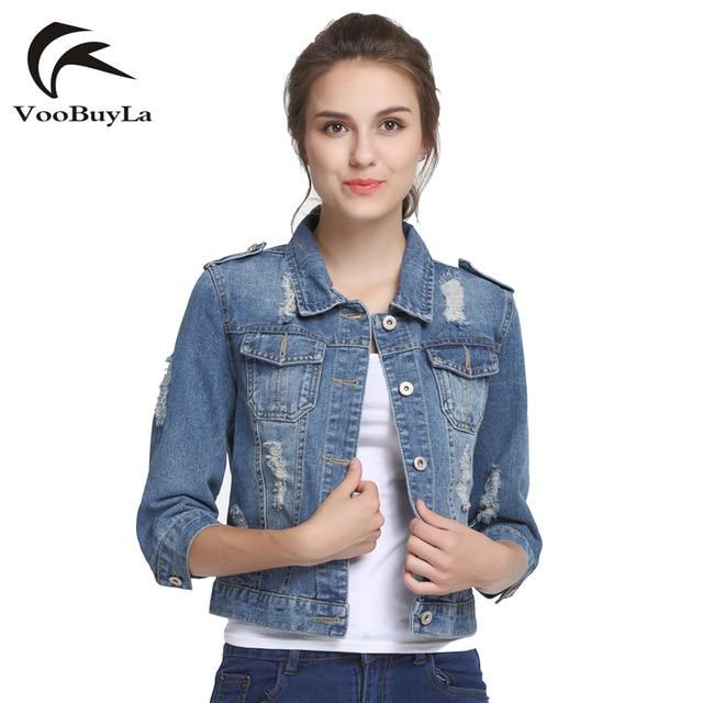 Voobuyla марка плюс размер 5xl 6xl летом джинсовые куртки женщин 2017 Три Четверти Тонкий Хлопок Свет Омывается Короткие Джинсы Куртка пальто