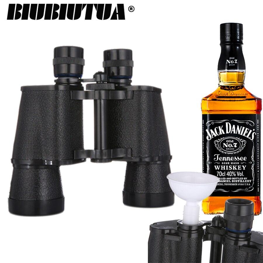 BIUBIUTUA Fernglas Glaskolben 16 unzen Reise Flachmann Tragbare Outdoor Wasser Flasche Whisky Topf Fernglas Glaskolben