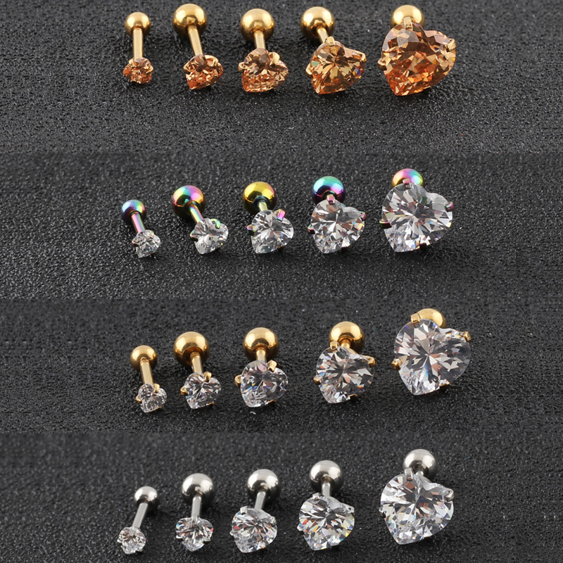 A single Violet cubic snow ball barbell earring stud piercing 18g