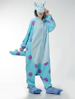 Blue Monster University Sulley Sullivan Onesies Pajamas Cartoon Costume Cosplay Pyjamas Party Dress Anime Sleepwear Halloween