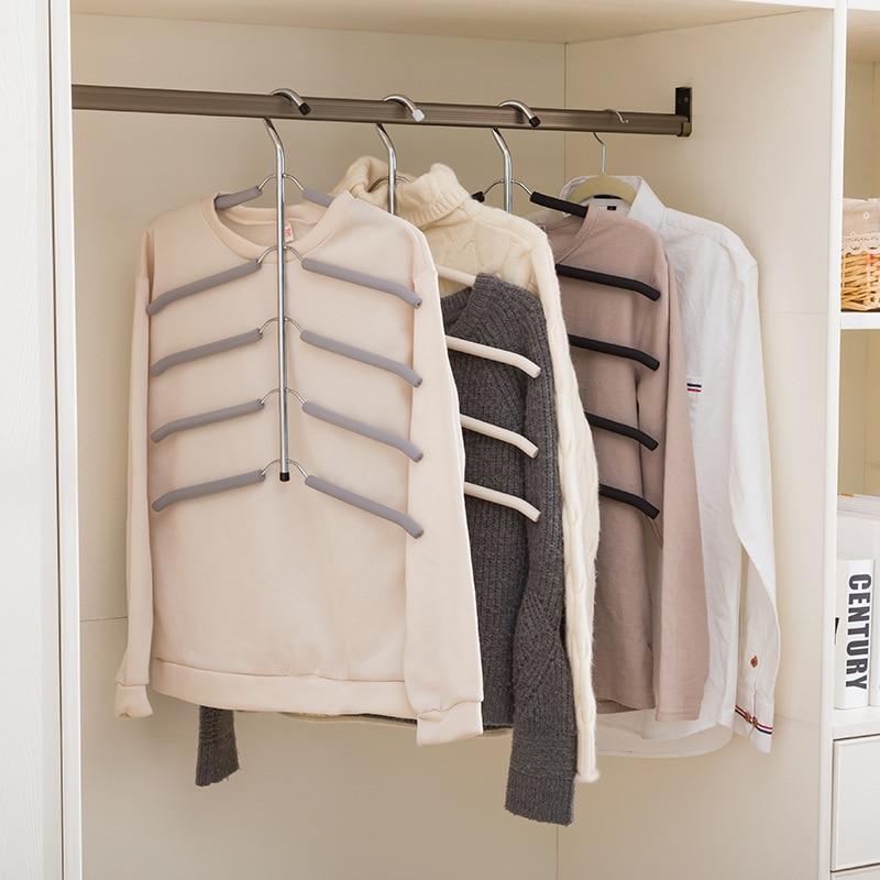 Multilayer Fish hueso forma Acero inoxidable ropa bastidores ropa titular Suspensión de almacenamiento armario Rack de secado