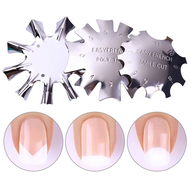 1Pc Metal French Nail Art Edge Trimmer Cutter Clipper Easy  Line Template Manicure Styling Nail Accessories Tool