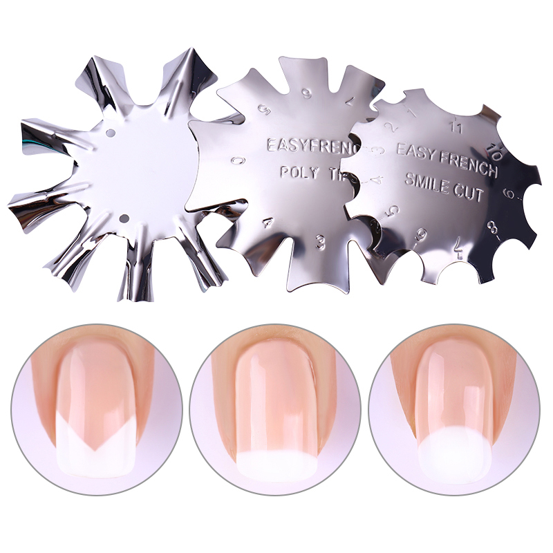 1Pc Metal French Nail Art Edge Trimmer Cutter Clipper Easy  Line Template  Styling Nail Accessories Tool