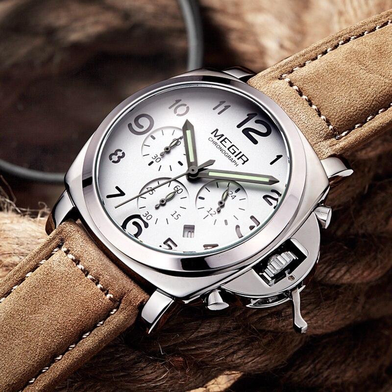 Luxury Brand Quartz Watch Analog Chronograph with Leather Strap 1