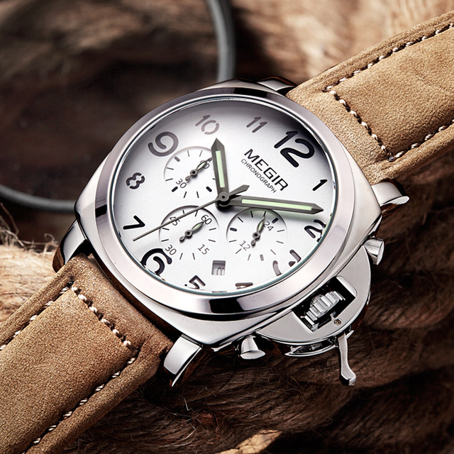 Luxury Brand Quartz Watch Analog Chronograph with Leather Strap 1