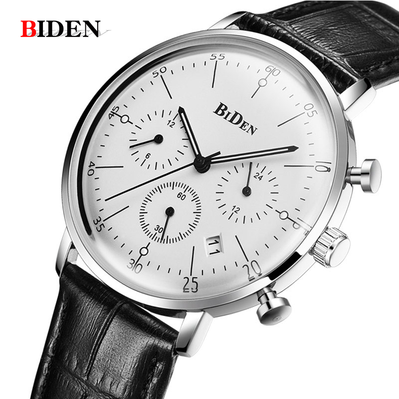 Fashion Simple Stylish Top Luxury Brand BIDEN Watches Men Leather Strap Quartz-watch Thin Dial Male Clock Man Relogio Masculino