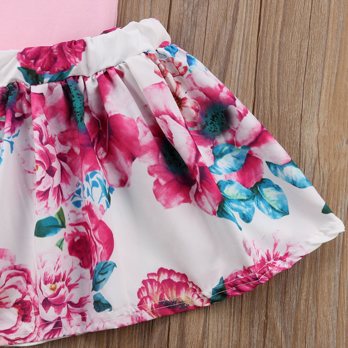2PCS Toddler Fashion Girls Summer Clothing Set Straps Sleeveless T-Shirt+Floral A-line Skirt Outfits Kid Clothes