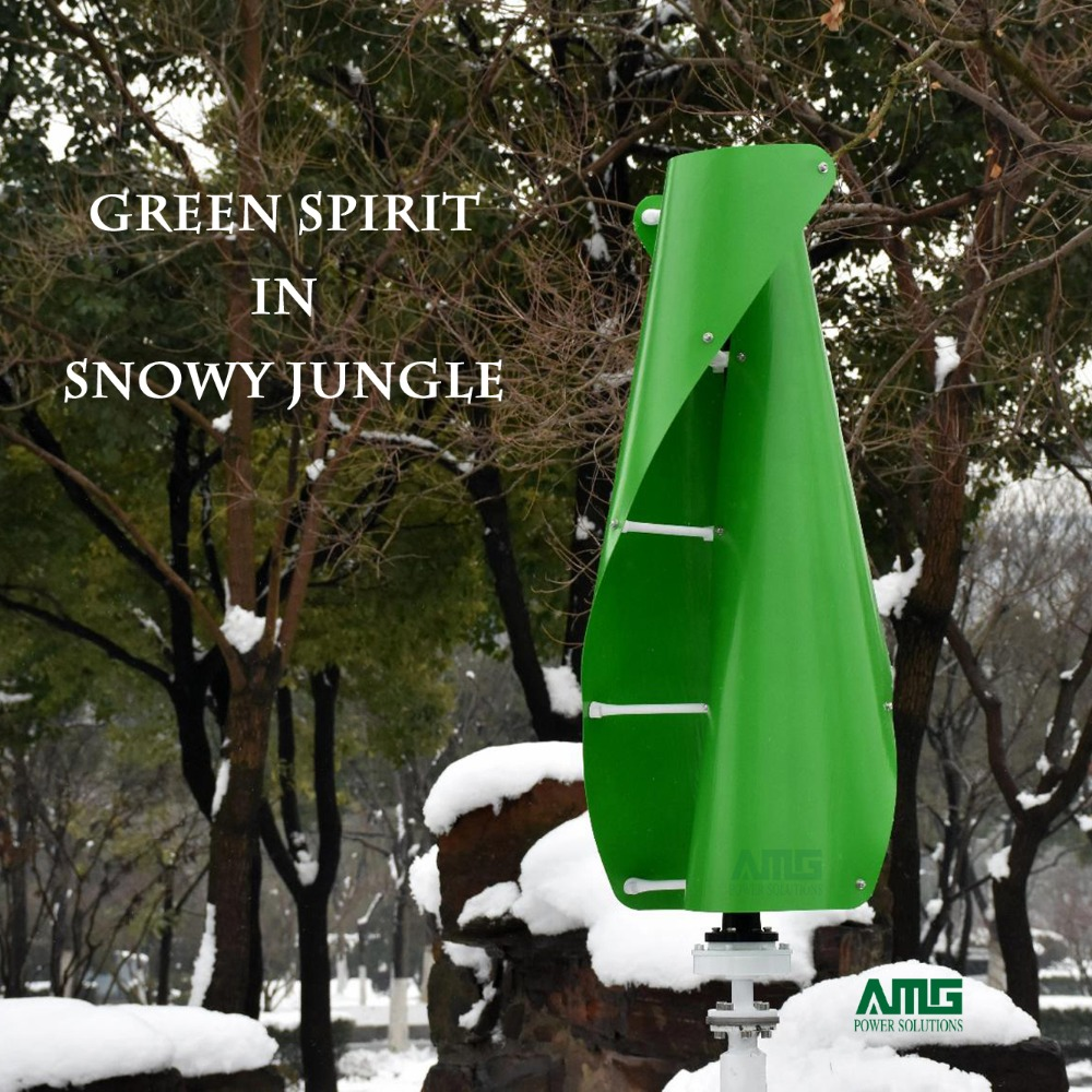 400W 500W 600W 12V 24V Green Color Helix Wind Turbine Generator VAWT Vertical Axis Residential energy with Charger Controller