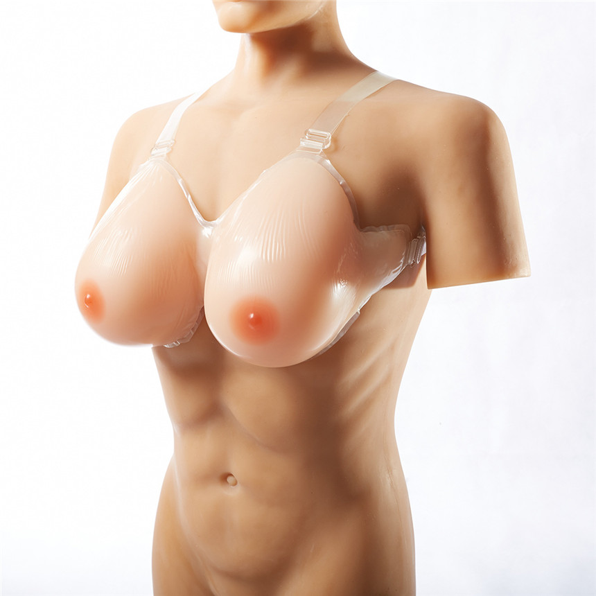 1 Pair 1600g Cup B Sz 32 34 Silicone Breast Form False Breast Boobs Enhancer For Mastectomy Crossdressers and Transvestites